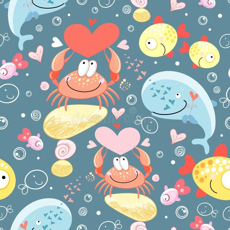 Pattern of gay marine animals royalty free illustration