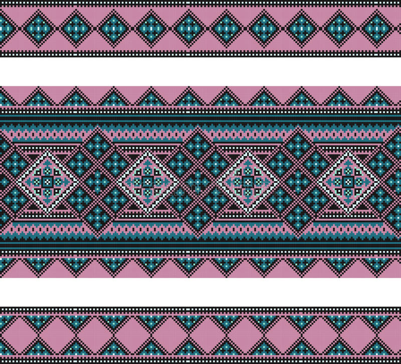 Pattern of geometrical figures. Ukrainian folk ornament. Used in embroidery, jewelry, garments, fabrics and other products royalty free illustration