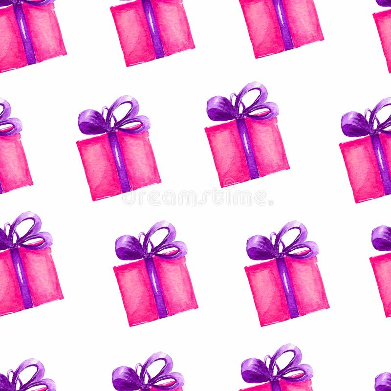 Pattern of Gift sketches boxes. Pink boxes with violet ribon. Watercolor hand drawing illustration. vector illustration
