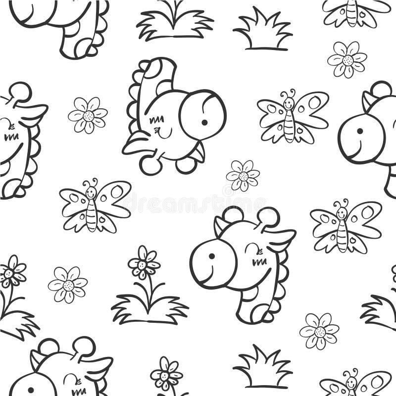Pattern giraffe and flower hand draw stock illustration