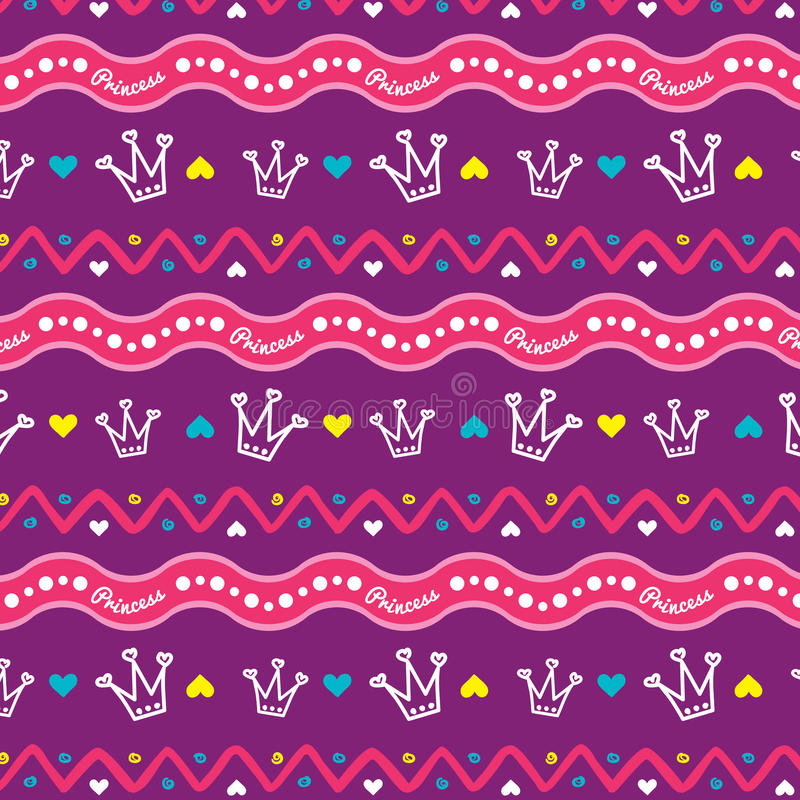 Pattern for girls PRINCESS with crown royalty free illustration