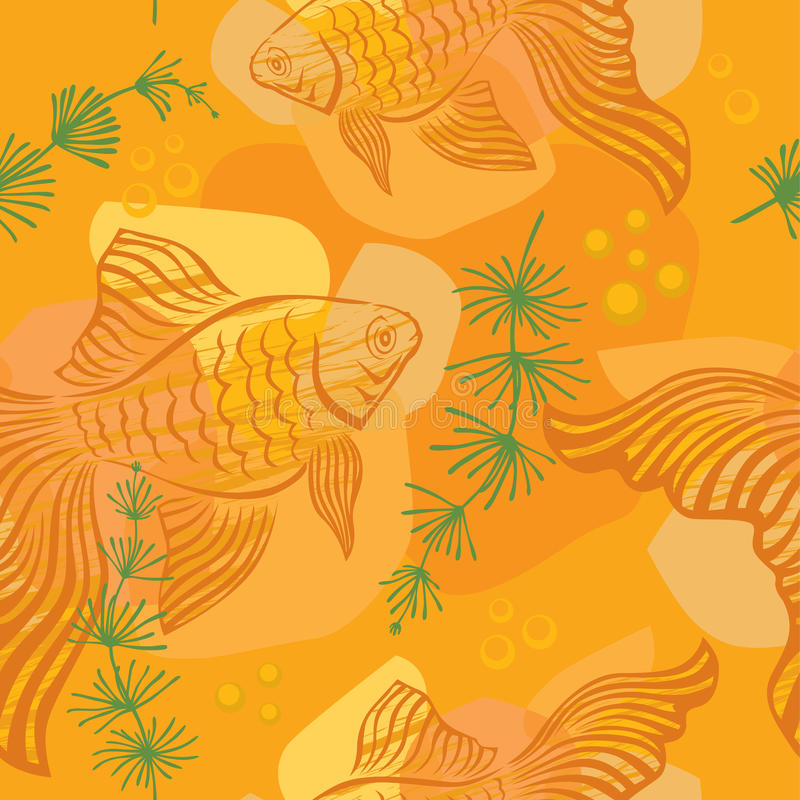Download Pattern with gold fish stock vector. Illustration of golden - 26376225