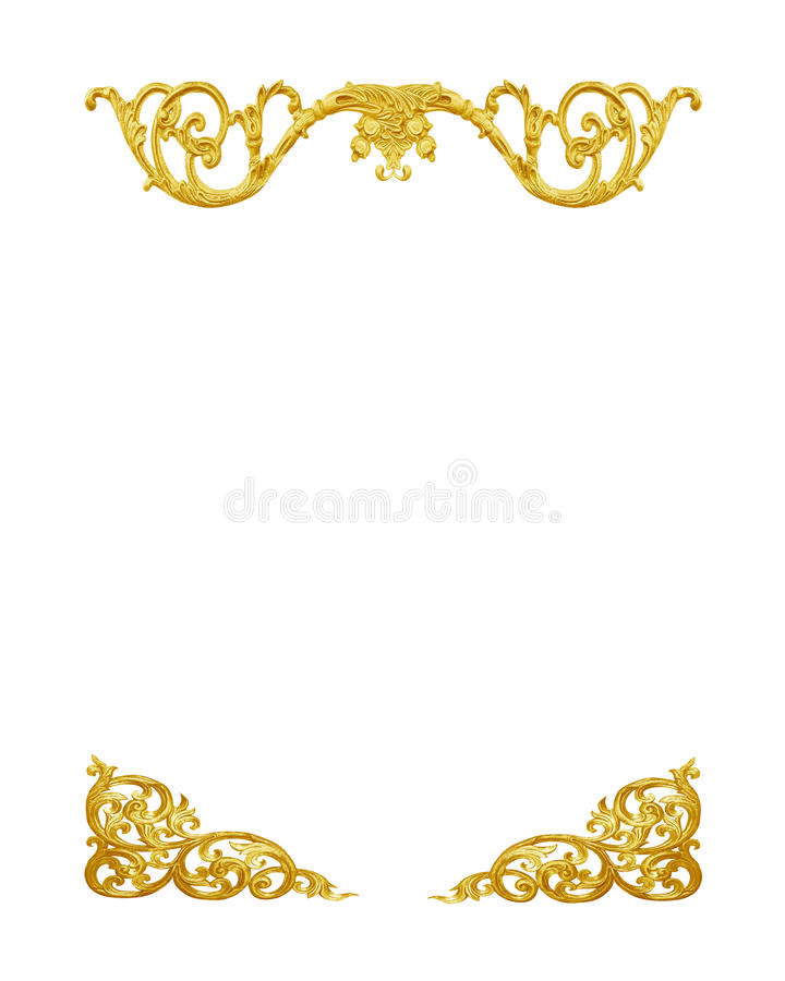 Pattern of gold metal frame carve flower on white royalty free stock photos