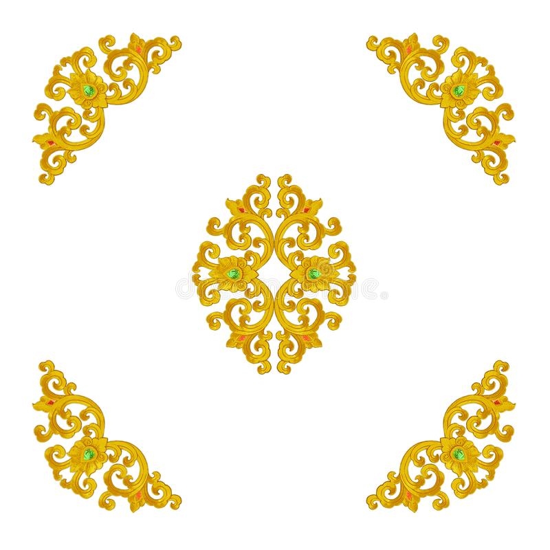 Pattern of gold Stucco frame carve on white background stock image