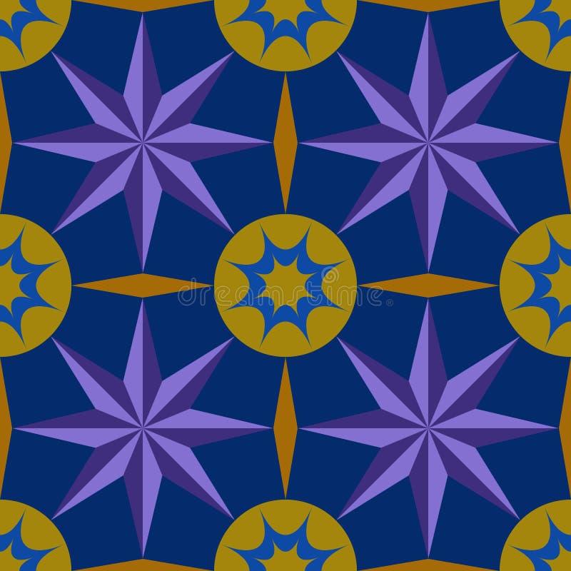 Pattern graphics blue star purple circle yellow diamond royalty free illustration