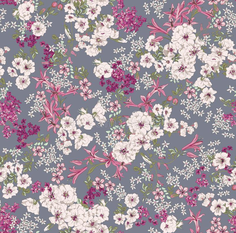 pattern on a gray background with a white wild rose and lilac flowers of different sizes vector illustration