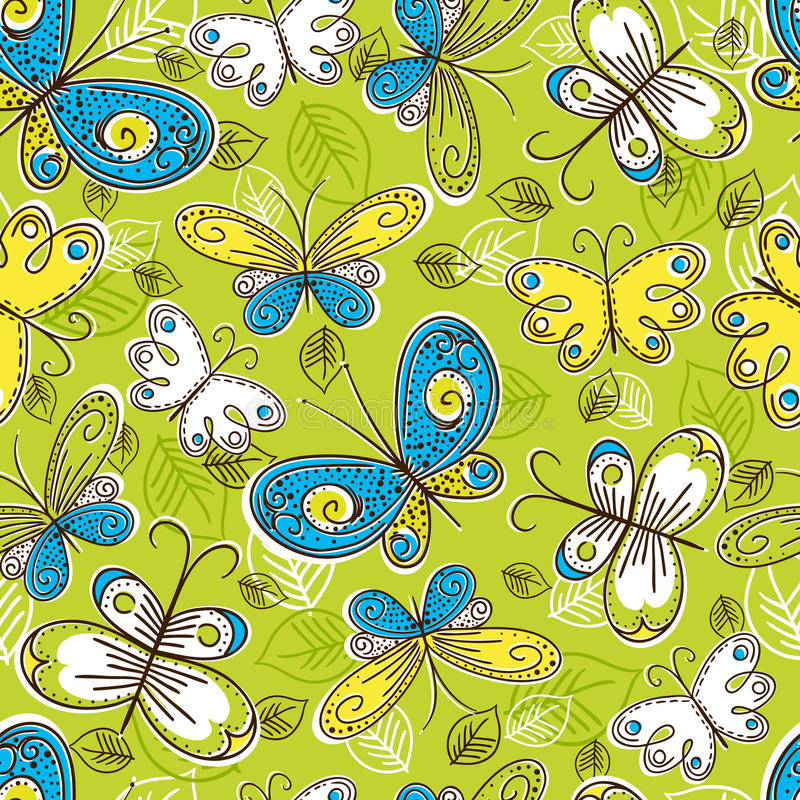 Download Pattern Of Hand Draw  Butterflies, Vector Royalty Free Stock Image - Image: 23243306