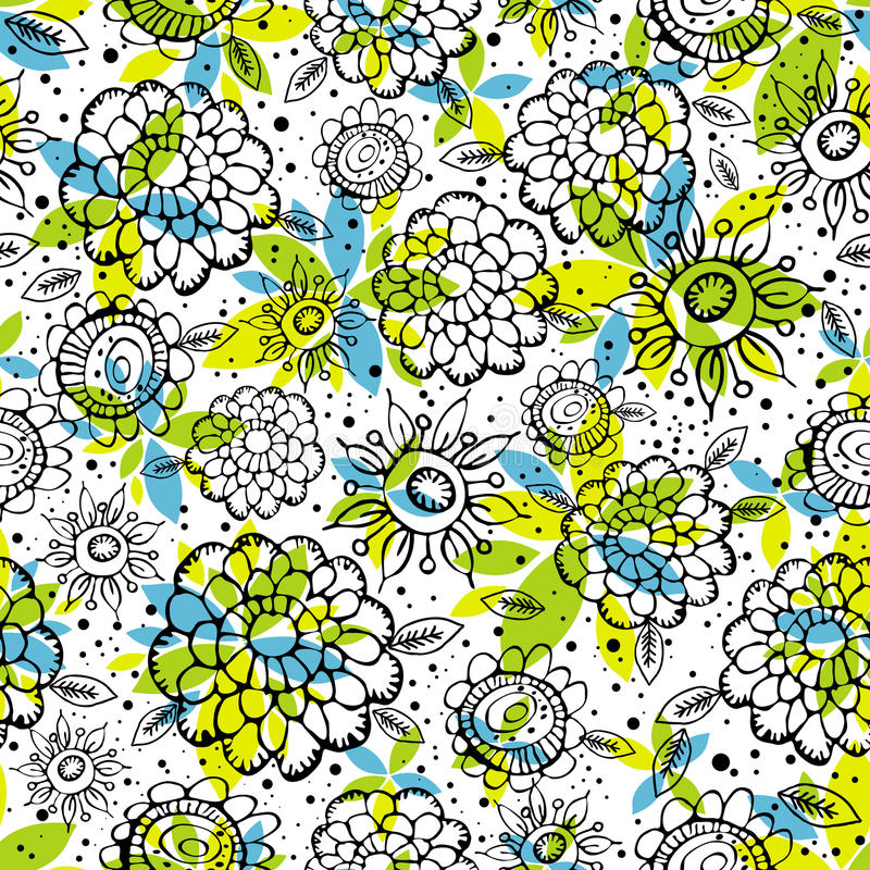 Download Pattern Of Hand Draw  Flowers Stock Vector - Image: 16089421