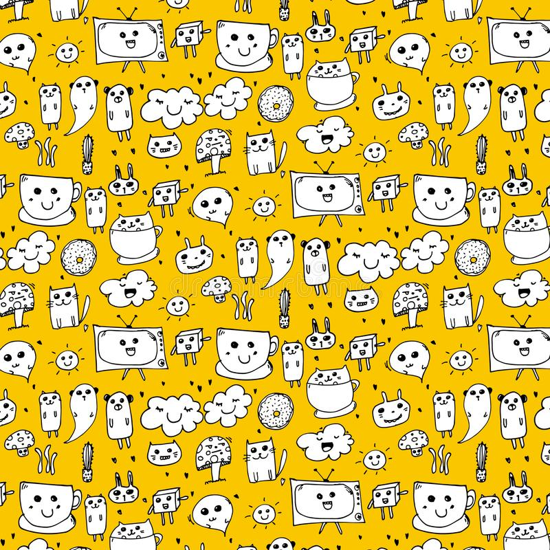 Pattern With Hand Drawn Doodle Lovely Background. Doodle Funny. stock illustration