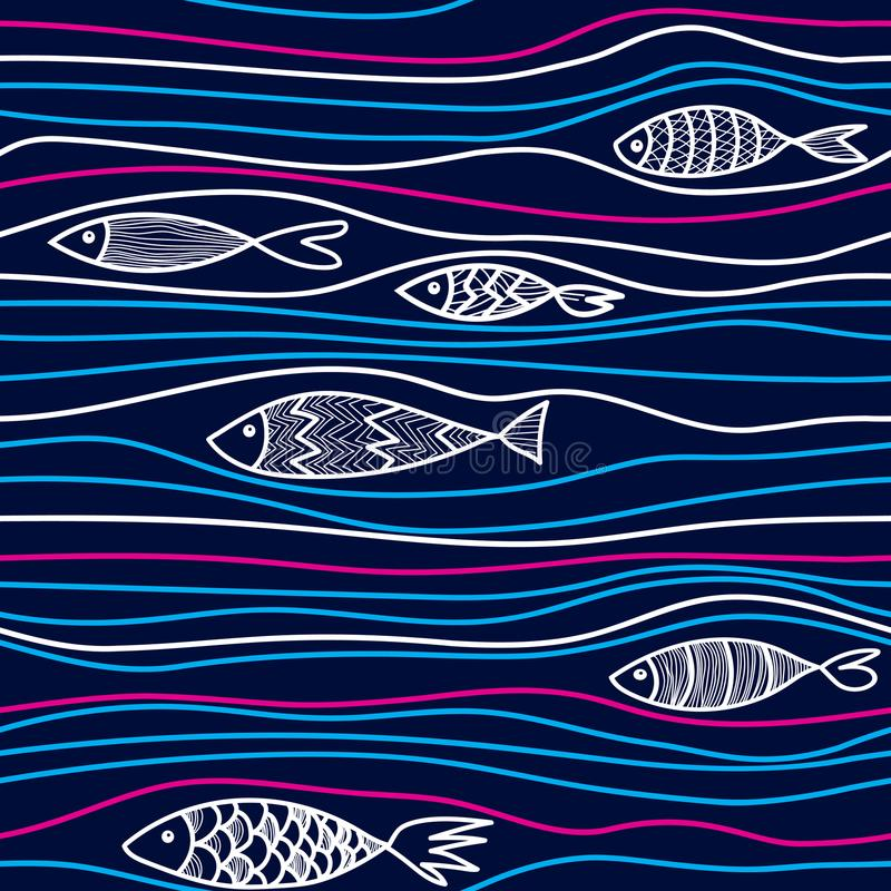 Pattern with hand drawn fishes stock photography