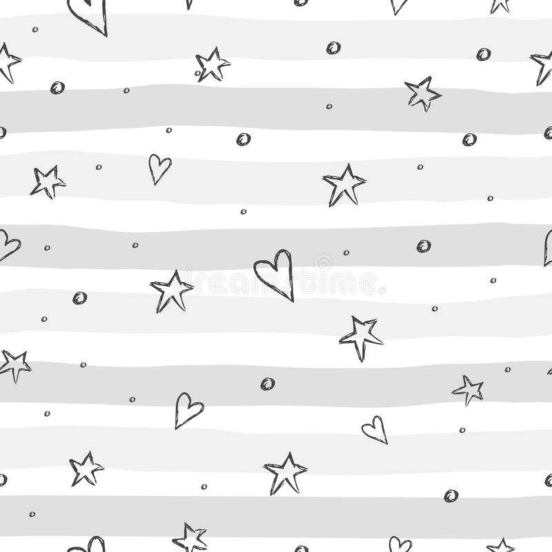 Pattern with hand drawn heart and stars. stock illustration