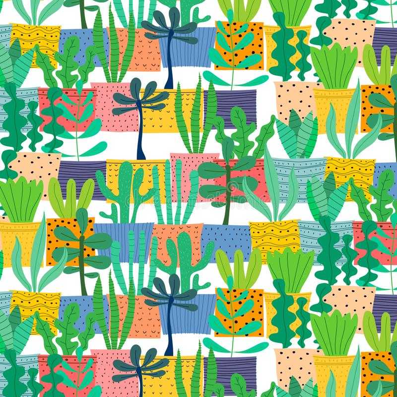 Pattern With Hand Drawn Plants In Pots. vector illustration