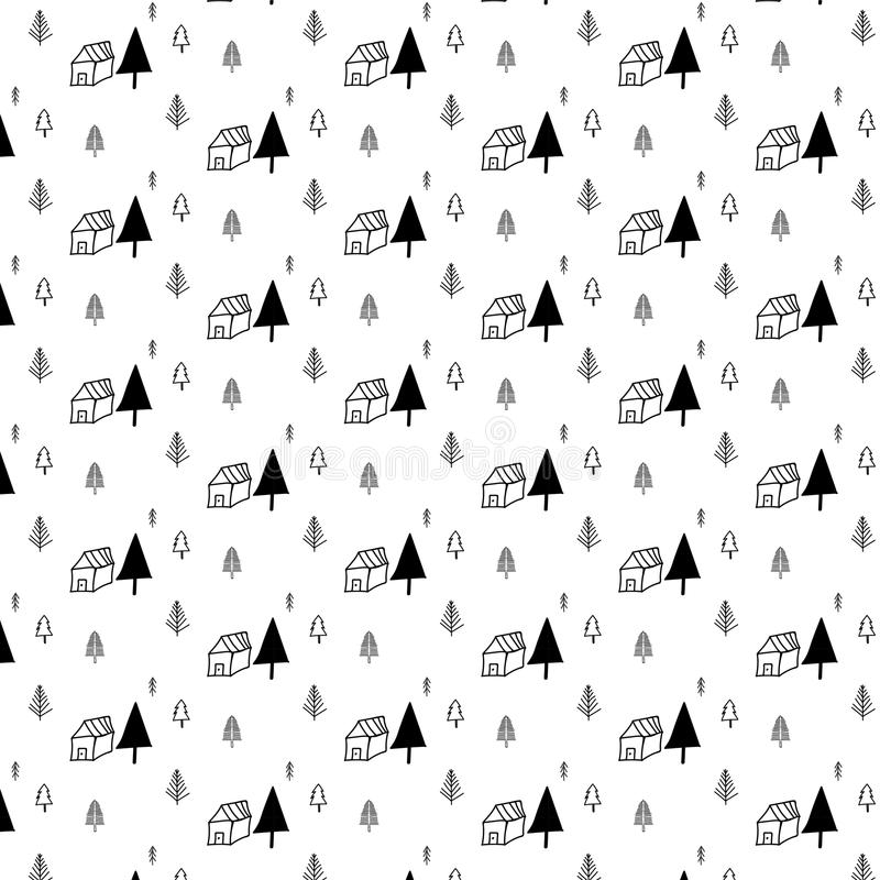 Pattern with hand drawn tree and home. vector illustration