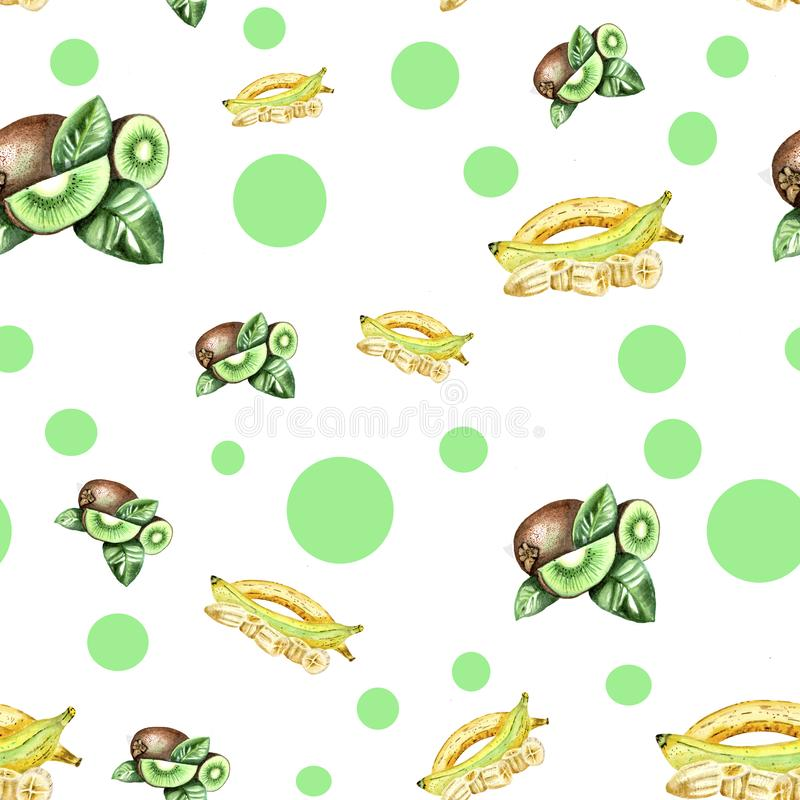White pattern with green dots and fruits artwork vector illustration