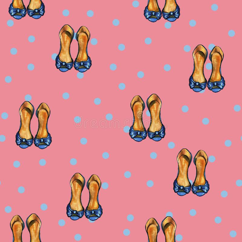 Retro pink pattern with blue dots and blue shoes royalty free illustration