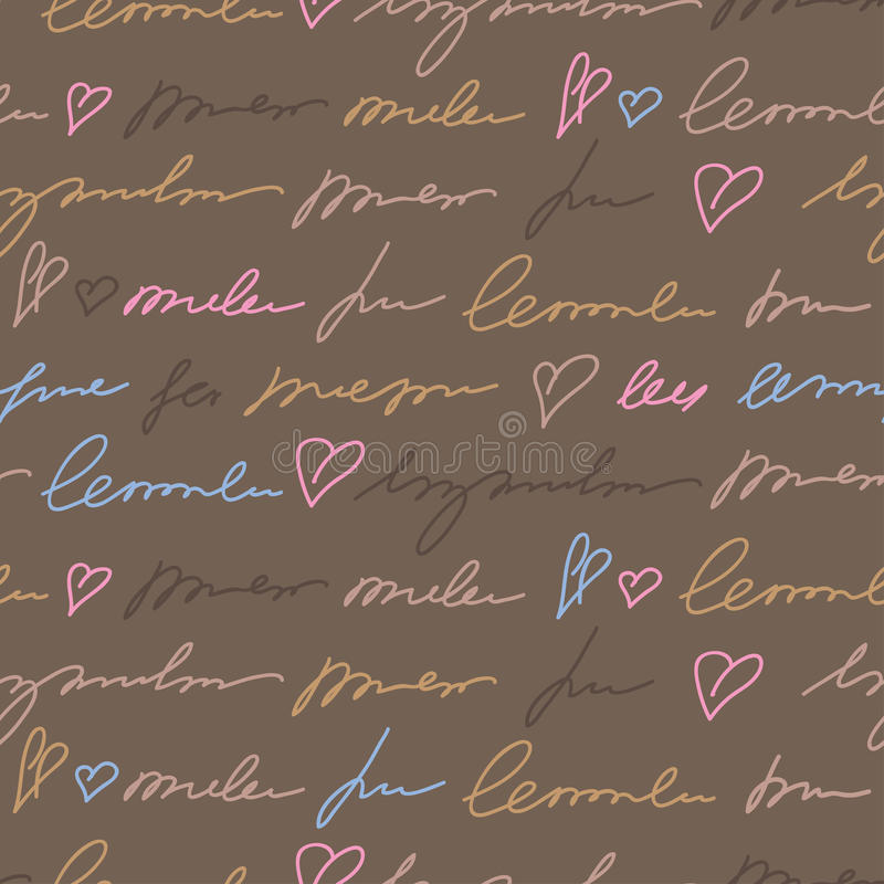 Pattern with hand writing elements royalty free illustration
