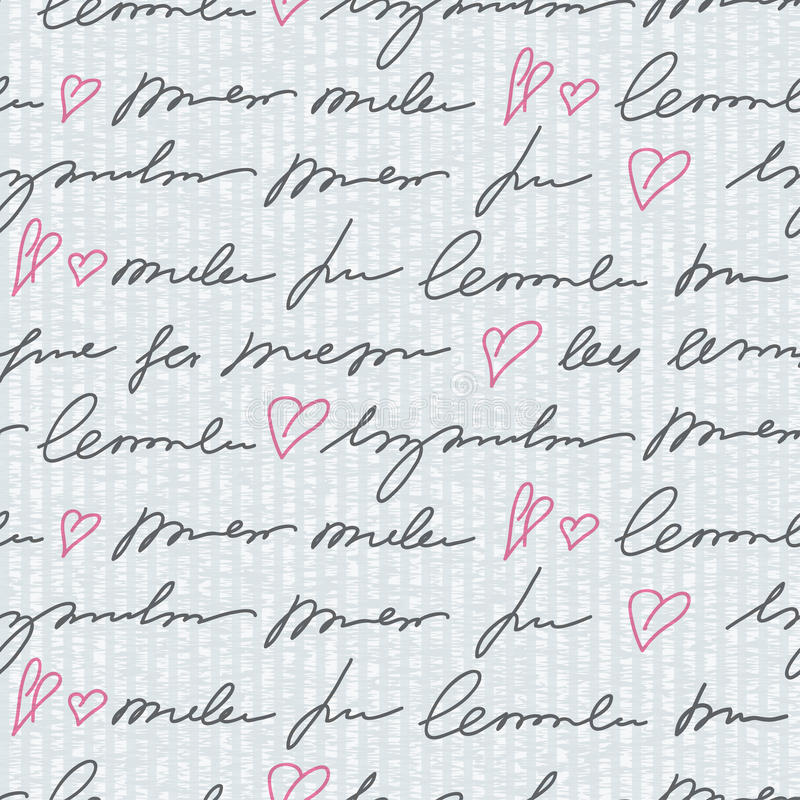 Pattern with hand writing elements stock illustration