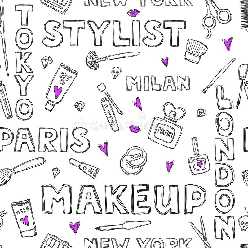 Pattern with handwritten words about beauty, cosmetics and makeup. Perfume, lipstick. vector illustration
