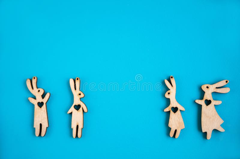 Pattern of hares on a blue background. Easter concept. royalty free stock photo