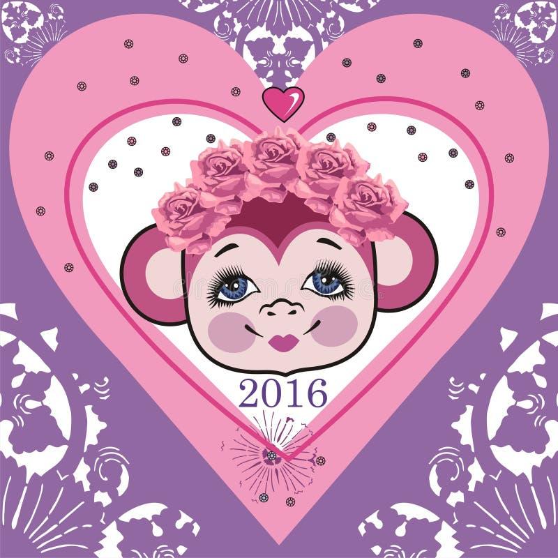 Pattern head monkey, frame shabby chic heart. Chinese zodiac: 2016 year monkey. Winter Christmas design. vector illustration