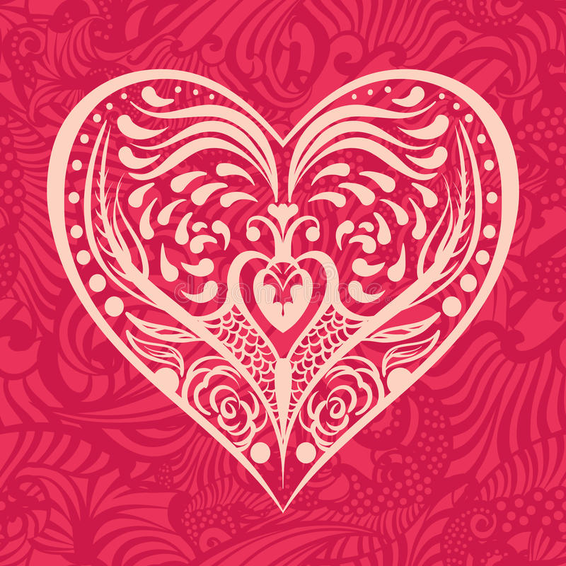 Pattern with heart. In the middle stock illustration