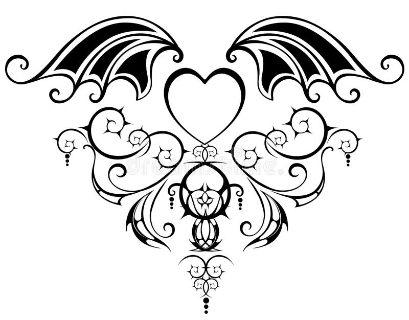 Download Pattern With Heart Of The Vampire Stock Vector - Image: 25909185