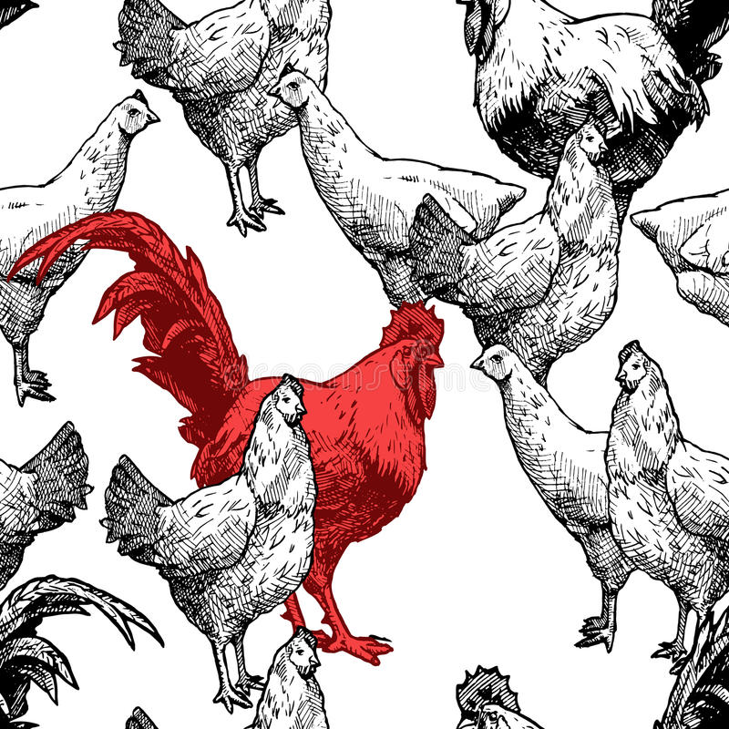 Pattern with hens and red royalty free illustration