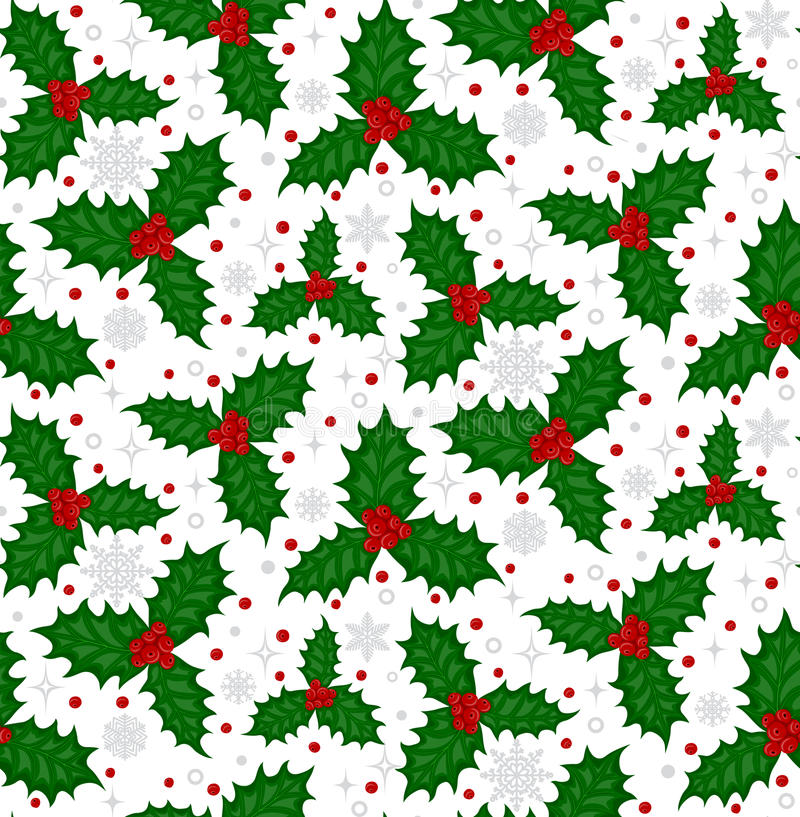 Pattern with holly berries stock photography
