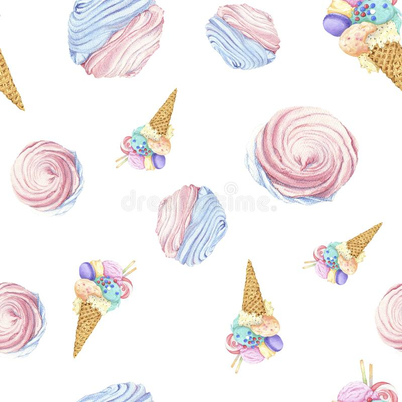 Ice cream and marshmallow royalty free stock images