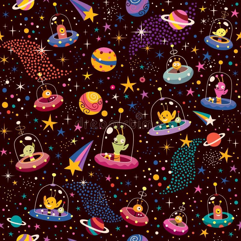Cute aliens pattern. Pattern illustration with cute aliens