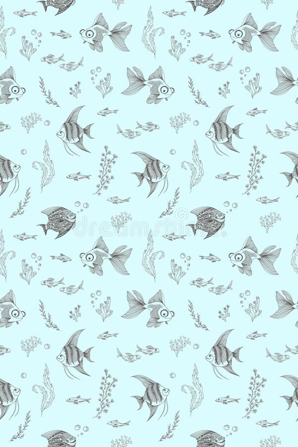 Pattern with the image of aquarium fish, corals and algae royalty free illustration