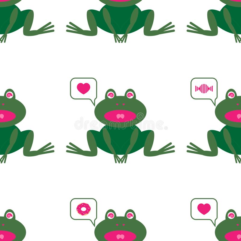 Pattern with image of cute frog. That desire something. Executed in comics style vector illustration