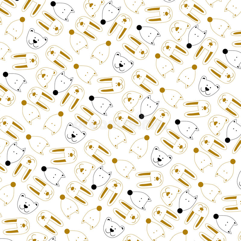 Pattern with the image of a fox, hare and bearon a white background royalty free illustration