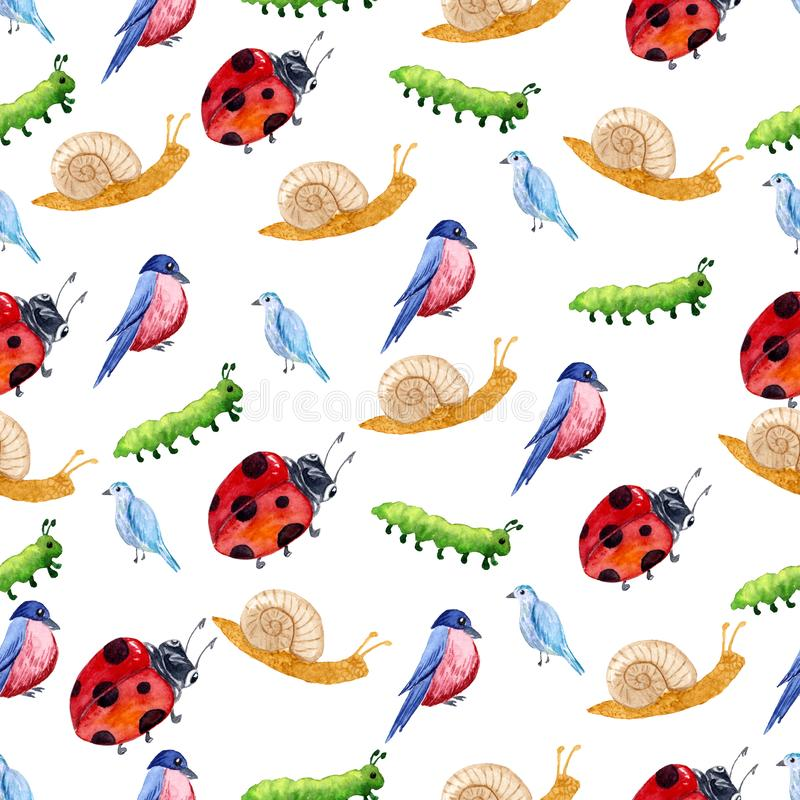 Pattern with isolated watercolor garden tools, plants and flowers. stock illustration