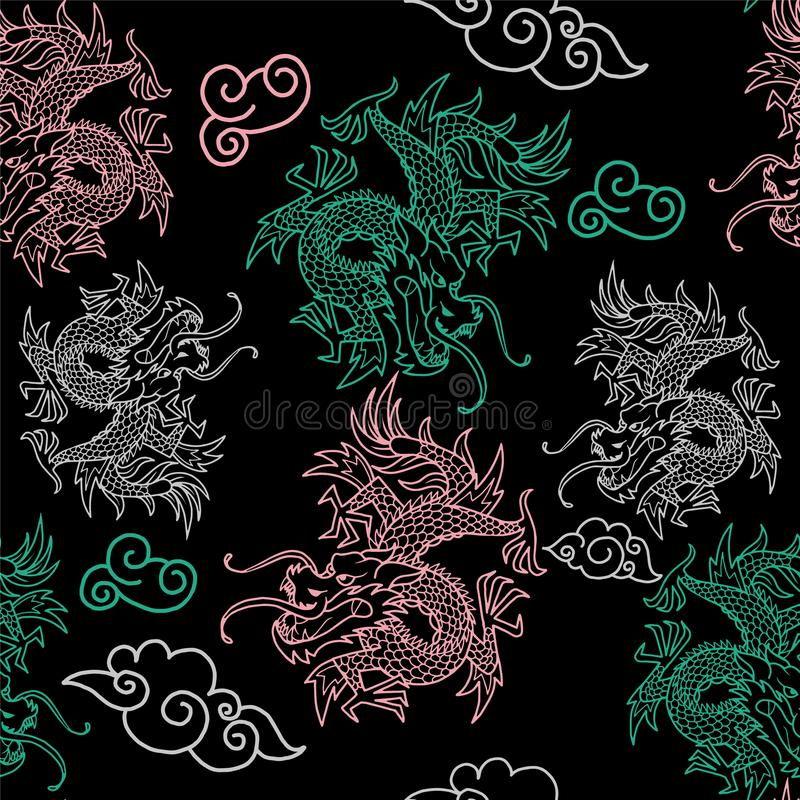 Pattern with Japan dragons stock photo