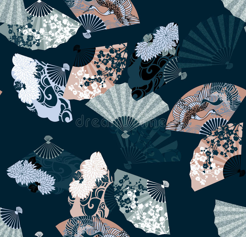 Pattern from Japanese fans featuring sakura, chrysanthemums and cranes stock illustration