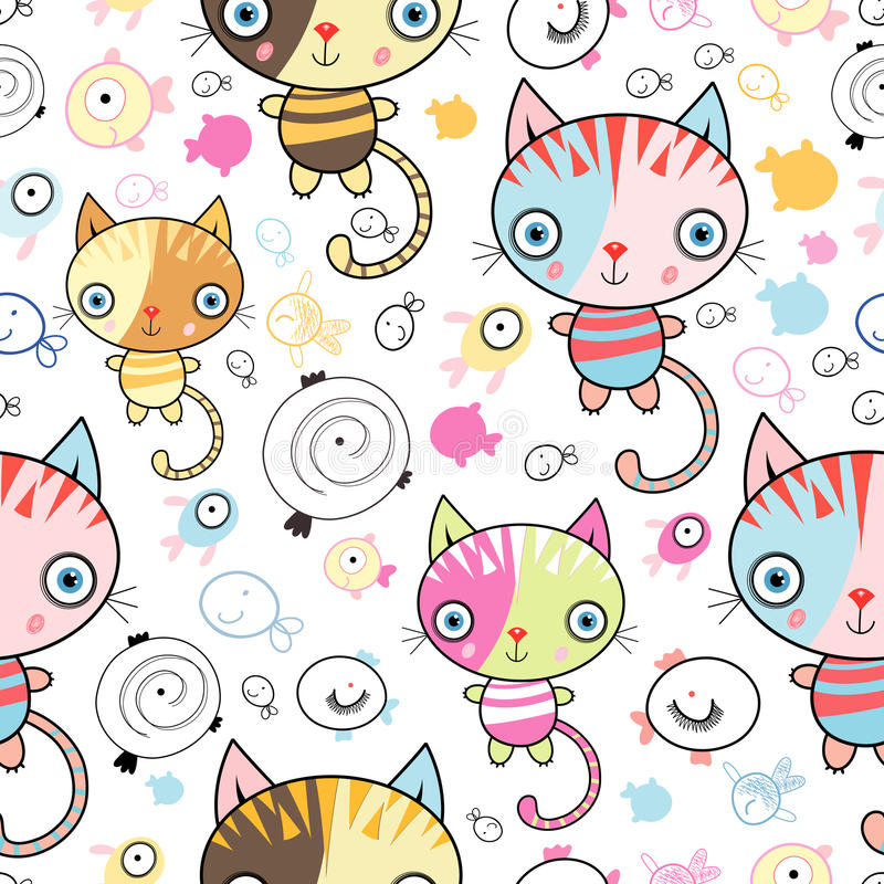 Download Pattern Of Kittens And Fish Stock Vector - Illustration of funny, black: 19478363