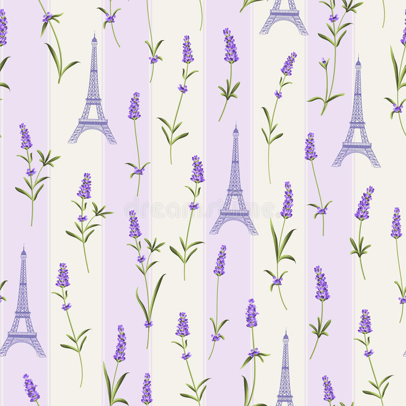 Pattern with lavender flowers. royalty free illustration