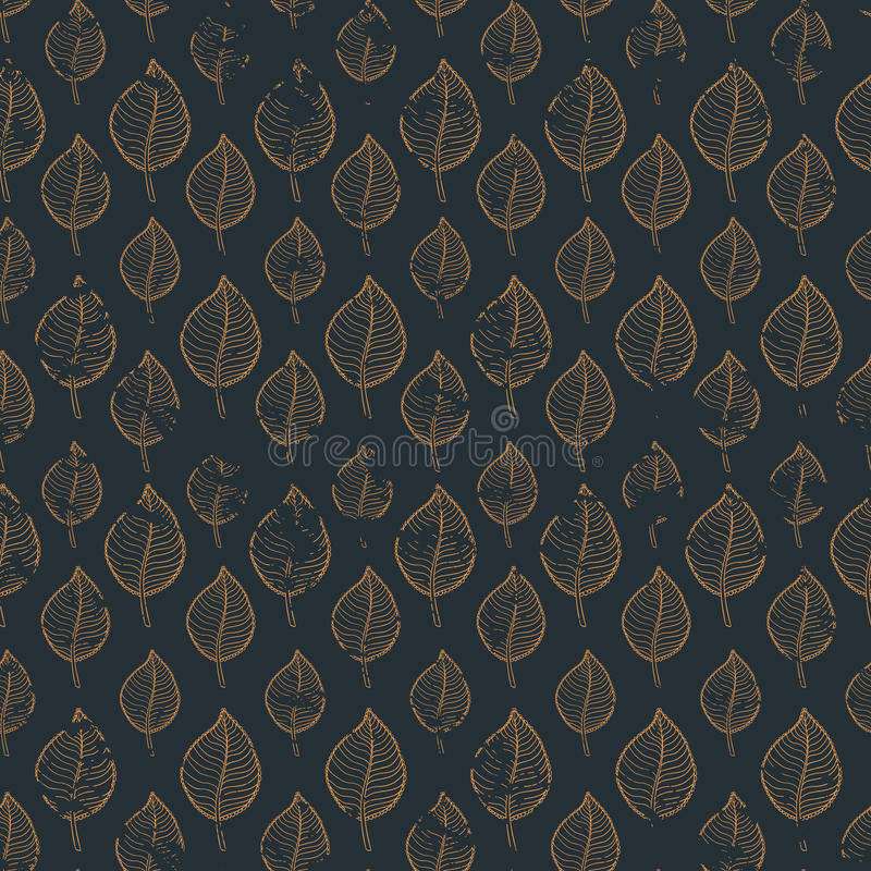 Pattern leafs gold vector illustration