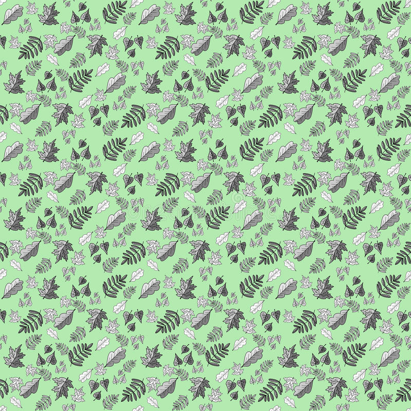 Pattern with leaves on a green background stock image