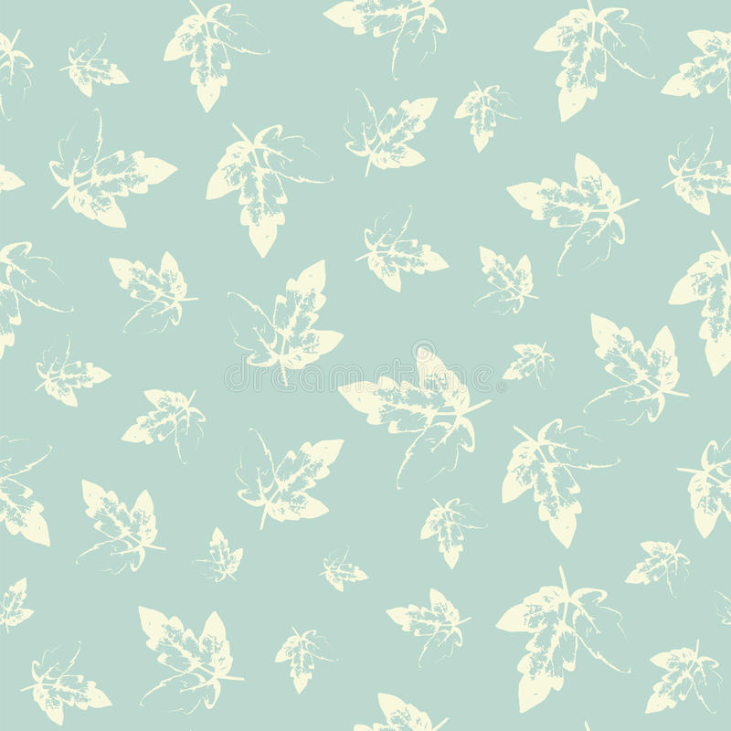 Pattern with leaves in pastel on cold background stock illustration