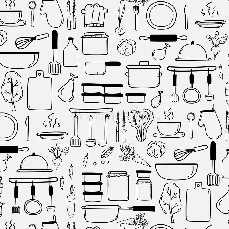 Pattern With Line Hand Drawn Doodle Vector Cooking Set Include Cooking Equipment stock illustration