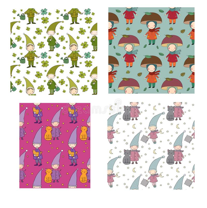 Pattern with little cute gnomes. Forest elves. Doodle boys in fancy dresses. stock illustration