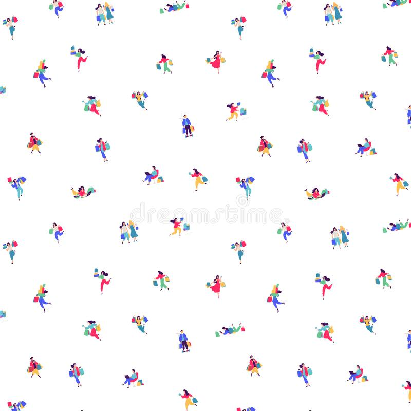 Pattern of little men shoppers. Vector. On a white background figures of people. Ironic style. Pattern for fabric or clothes vector illustration