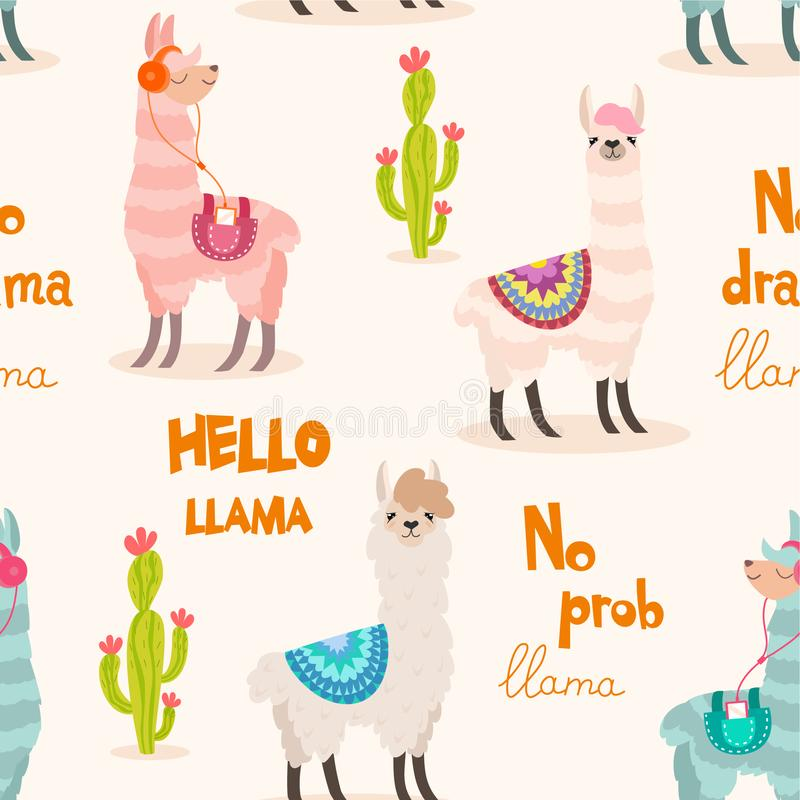 Pattern with llama and cactus. Vector seamless texture. stock illustration