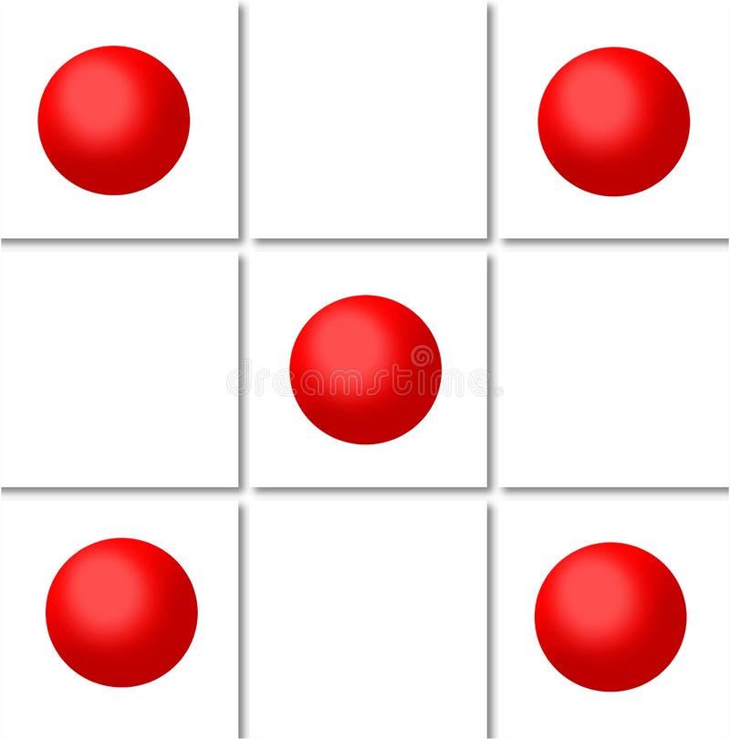 Red spheres on white tile pattern. A pattern made of images of red 3 D spheres on white tiles. Illustration art stock illustration