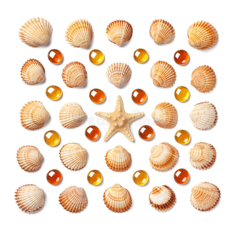 Pattern made of shells, starfish and orange glass beads isolated on white background. Flat lay, top view stock images