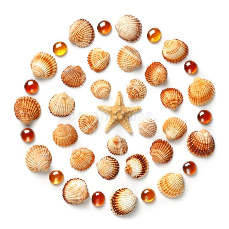 Pattern made of shells, starfish and orange glass beads isolated on white background. Flat lay, top view stock photo