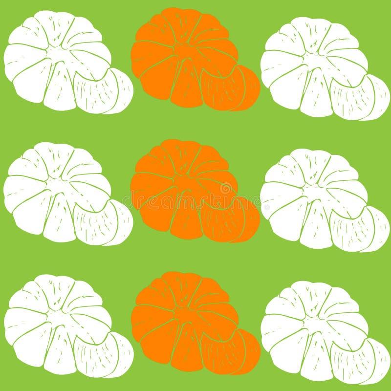Pattern of mandarins, vector illustration. Vector illustration, mandarin pattern on a green background royalty free illustration