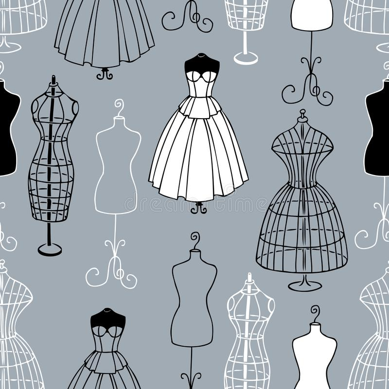 Pattern of the mannequins of sewing atelier royalty free illustration